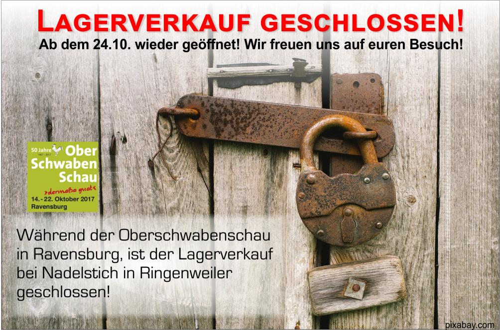 Lagerverkauf bis 24.10 geschlossen, Türe mit Schloss